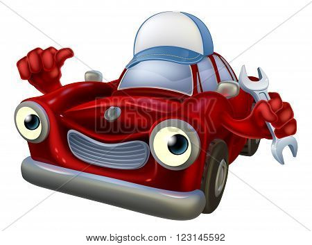 Cartoon Car Mechanic Mascot