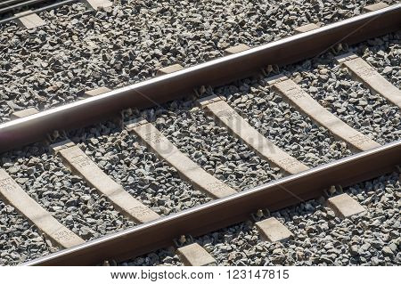Top view of the train tracks, transport and travel