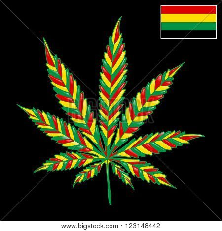 Illustration colorful marijuana as a symbol of Jamaica.