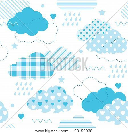 illustration of blue polka dot, plaid, striped and heart shape patterned clouds, with rain drops, stars, hearts and dots on white background