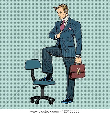 businessman in the pose of Napoleon pop art retro style. business concept. Leader commander strategist