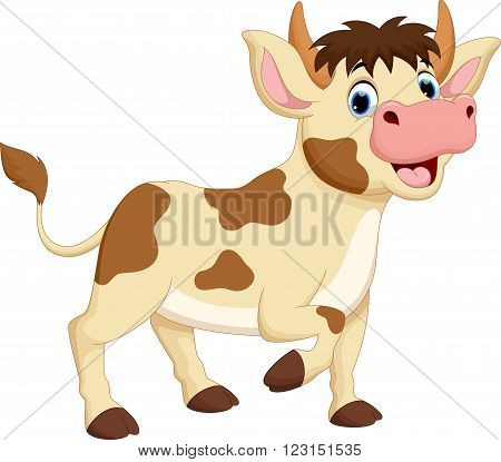 Vector illustration of happy cow cartoon isolated on white background