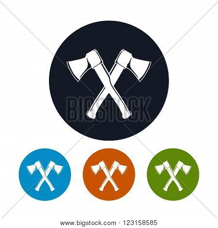 Crossed Axes Icon ,Four Types of Colorful Round Icons Two Crossed Axes, Vector Illustration