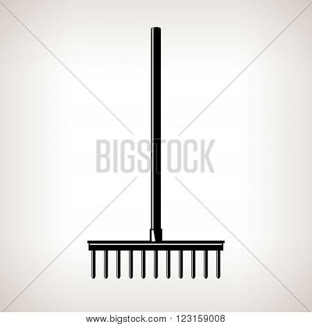 Rake, a Bow Rake for Soil and Rocks, Silhouette Garden Rake on a Light Background, Agricultural Tool ,Garden Equipment, Black and White Vector Illustration