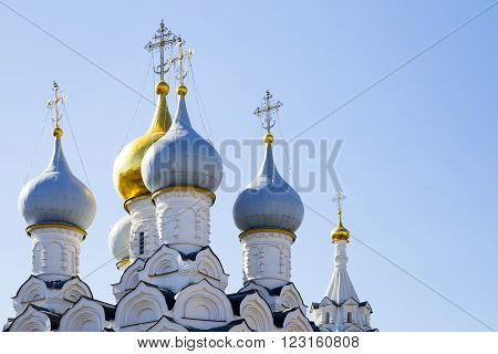 Cathedral Christian dome close up. Dome of church. Gold dome of church. Gold dome and cross close up.