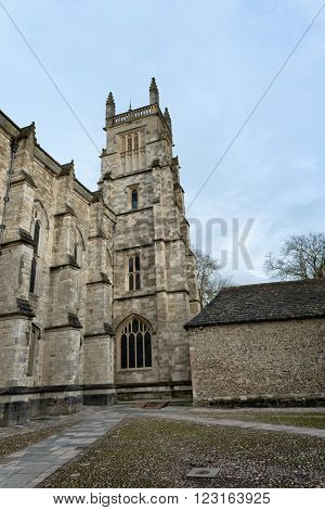 WINCHESTER, UK - FEBRUARY 07, 2016: Exterior of Winchester College chapel. February 07, 2016 in Winchester, UK.