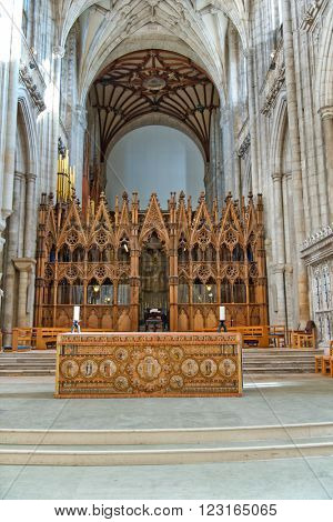 WINCHESTER, UK - FEBRUARY 07: The choir and a small altar inside Winchester Cathedral. February 07, 2016 in Winchester, UK