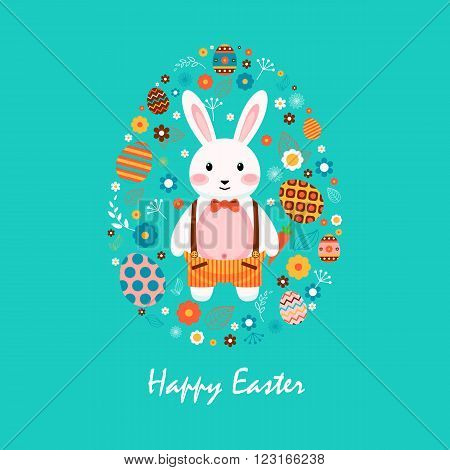 Stock vector illustration Happy Easter bunny in shorts with braces, colored eggs, spring decoration, leaves, flowers in flat style on blue background to printed materials, website, postcard, greeting