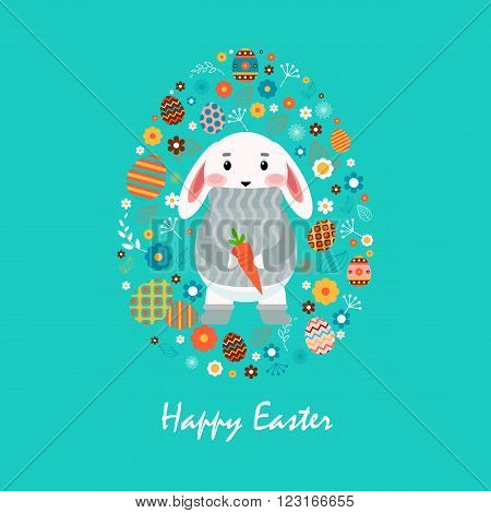 Stock vector illustration Happy Easter bunny in gray sweater with carrot, colored Easter eggs, spring decoration, leaves, flowers flat style on blue background to printed materials, postcard, greeting