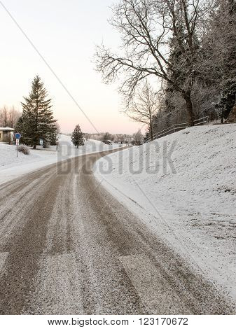 Empty Road In The Countryside In Winter