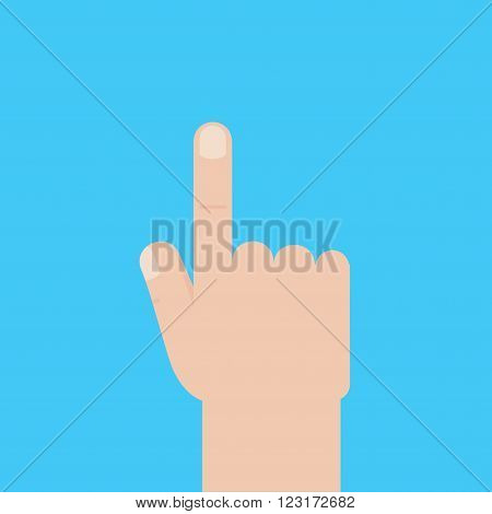 Light-skinned hand with the index finger. The index finger of his right hand. It indicates something. Icon of the right hand with the index finger extended on a blue background. Vector illustration.