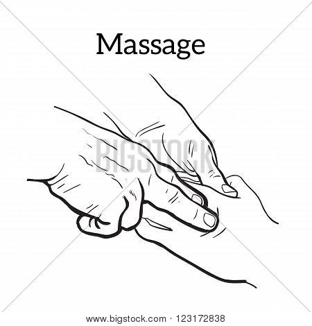 Hand massage, skin massage, body massage. Types of massage. Set with image of massage. Hand massage. Massage therapy. Therapeutic manual massage. Relaxing therapy. Massage vector icons. Body massage