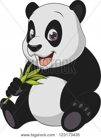 Vector illustration, baby funny bear panda, on a white background.