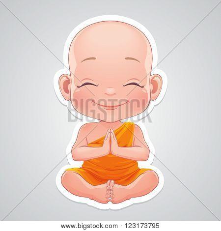 Vector illustration. Little praying little buddhist boy.