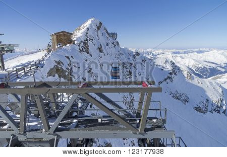 HINTERTUX GLACIER, AUSTRIA - MARCH 17, 2016: View from the roof of the upper station of the cable car that leads to the top of the Hintertux Glacier. Tyrol Austrian Alps 3250 meters above sea level.