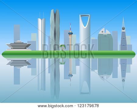 Riyadh Saudi Arabia skyline silhouette vector illustration