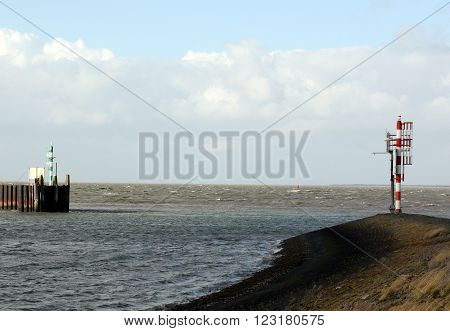 Beacon at the harbour of Lauwersoog. The Netherlands
