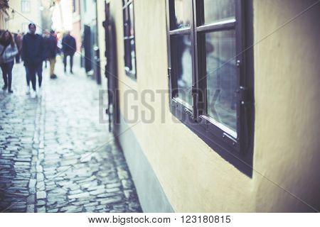Homes Along The Golden Lane In Prague Castle, Full Of Tourist, Focus On Window, Vintage Effect