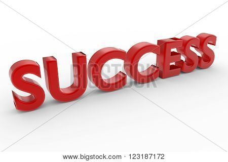 Word SUCCESS over white background with shadow. 3d render
