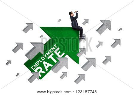 Image of male worker sitting on upward arrow with an employment rate text and using binoculars