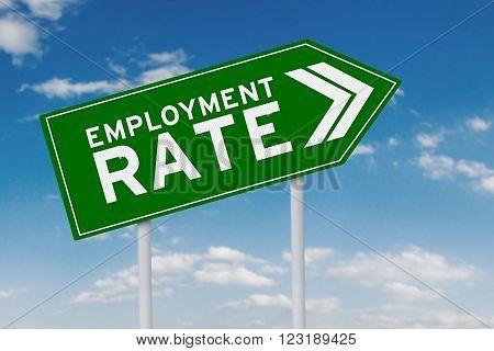 Green signpost shaped upward arrow with an employment rate text shot under clear sky