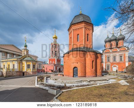 Moscow Russia - March 21 2016: High-Petrovsky monastery on ulitsa Petrovka.