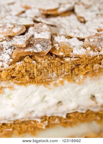 Cake Almond With Whipped Cream And Cream