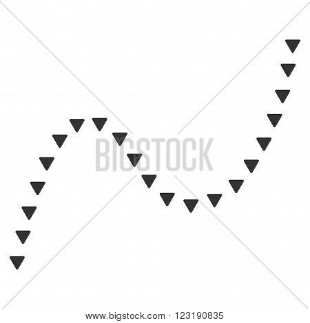 Dotted Curve vector icon. Dotted Curve icon symbol. Dotted Curve icon image.