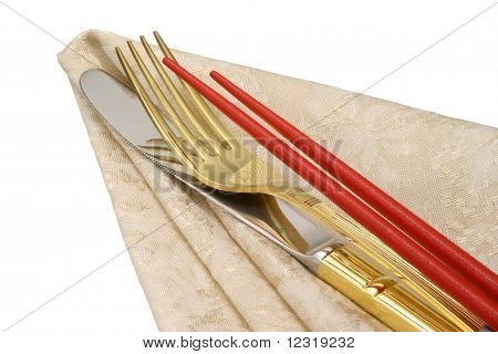 Knife Chopsticks and Fork.