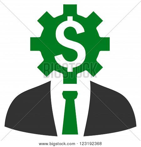 Office Worker vector icon. Style is bicolor flat symbol, green and gray colors, white background.