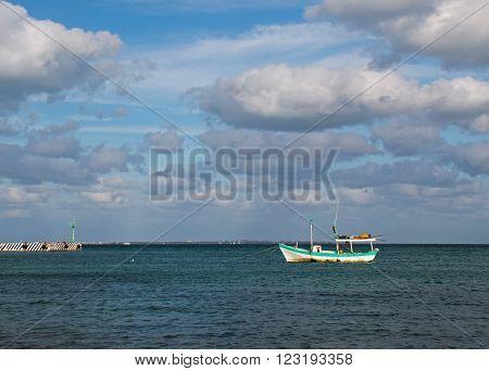 Puerto Juarez Fishing boats in harbor Cancun Mexico