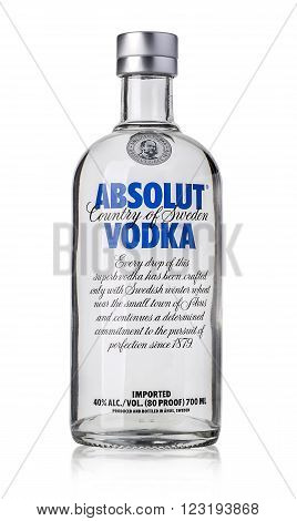 CHISINAU MOLDOVA - DECEMBER 25 2015: Bottle of Swedish vodka Absolut Produced by Vin & Sprit.