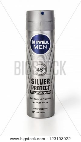 CHISINAU MOLDOVA - March 06 2016 :: Photo of Nivea men deodorant on a white background. Nivea is a spray skin and body care brand that is owned by the German company Beiersdorf.