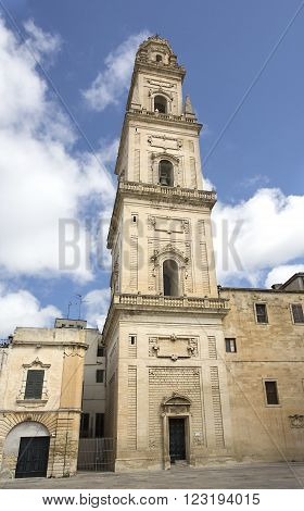 LECCE ITALY -April 19 2015. Cathedral of the Assumption of the Virgin Mary in Lecce a historic city in Apulia Southern Italy