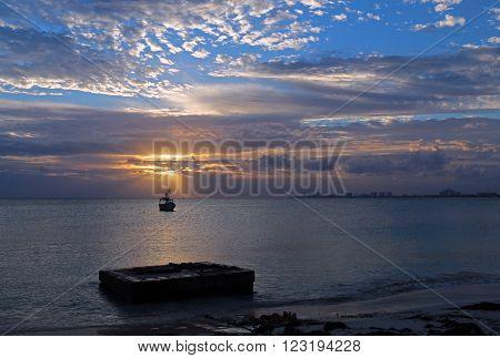 Fishing Boat In Puerto Juarez At Sunrise