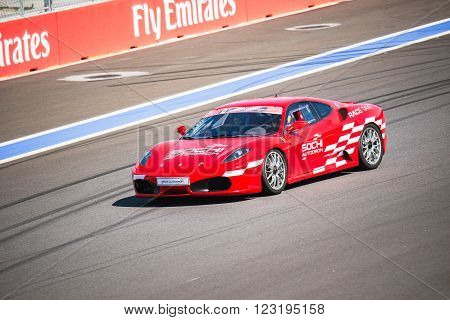 Sochi Russia - May 11 2015: Training races of Ferrari on the autodrom.
