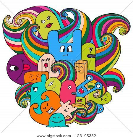 Doodle vector illustration with monsters. Funny monsters graffiti. Hand drawn sketch art.can be used for backgrounds, t-shirts