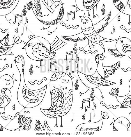 Cute Lovely Bird Singing Summer Seamless Endless Vector Illustration.Endless background. Beautiful seamless pattern in. Vector backdrop. Summer template. Use for wallpaper, pattern fills, web page background. Colorieng  pages for adults. Colorieng book