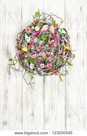 Easter wreath. Vintage style holidays decoraion. Nest