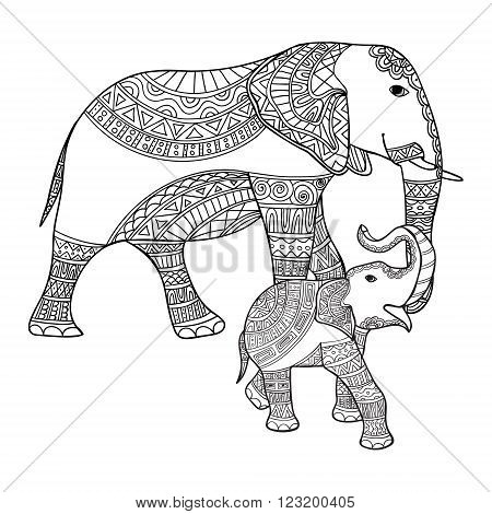 Big and small elephant anti-stress coloring book for adults. Black and white hand drawn vector. doodle print with ethnic patterns. Zen tangle style for tattoo, shirt design, logo, sign. Mother elephant and baby elephant