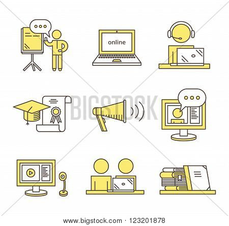 Outline webinar icon set. Online training and seminar illustration. Distance education concept.
