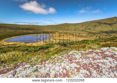 Azores landscape with lake in Flores island. Caldeira Rasa. Portugal. Horizontal