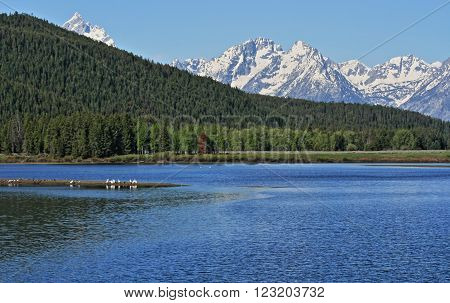 Grand Tetons in front of Jenny Lake in Grand Teton National Park in Wyoming USA