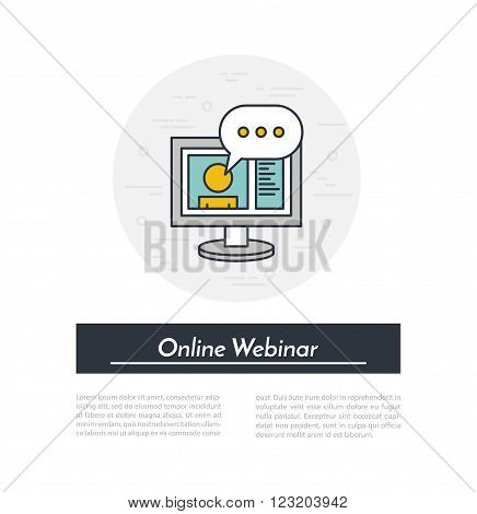 Online Webinar Icon. Teacher holding online webinar in the monitor window. Webinar concept icon.