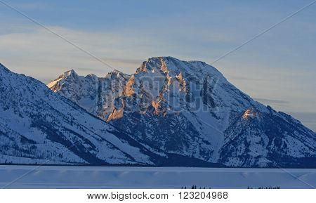 Mount Moran at sunset in the Grand Tetons National Park in Wyoming USA
