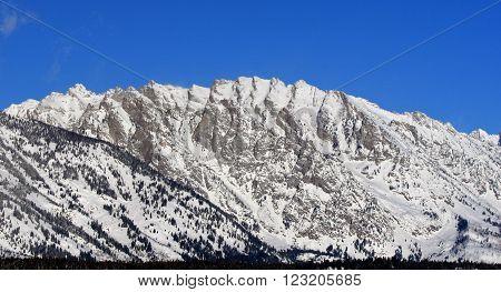 Mount Saint John in the Grand Tetons Mountain Range in Grand Tetons National Park in Wyoming USA