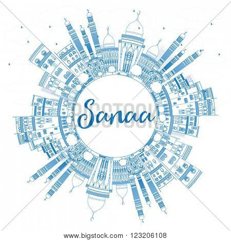 Outline Sanaa (Yemen) Skyline with Blue Buildings. Business Travel and Tourism Concept with Copy Space. Image for Presentation Banner, Placard and Web Site.