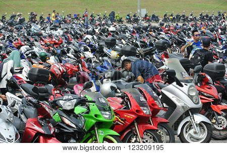 SELANGOR, MALAYSIA -OCTOBER 25, 2015: Motorcycle park at the Sepang International Circuit during MotoGP tournament 2015.