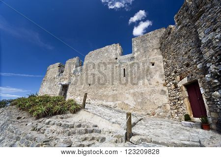 View of the access to the medieval castle of Torres Vedras Portugal