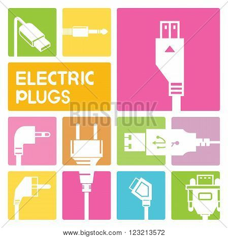 electric plug and outlet icons in  colorful buttons